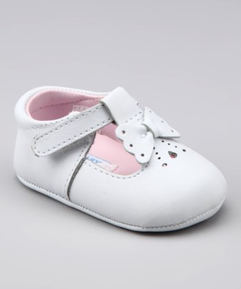 White Butterfly Bow T-Strap Shoe
