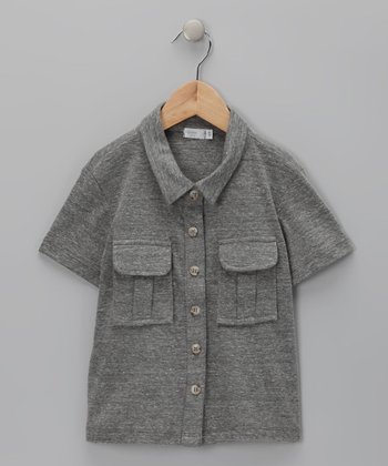 Baby Eggi Heather Gray Slouch Button-Up - Toddler & Boys