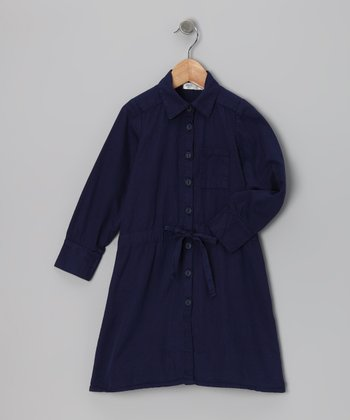 Baby Eggi Blue Depths Shirt Dress - Toddler & Girls