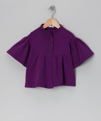Baby Eggi Purple Magic Bell-Sleeve Jacket - Toddler & Girls