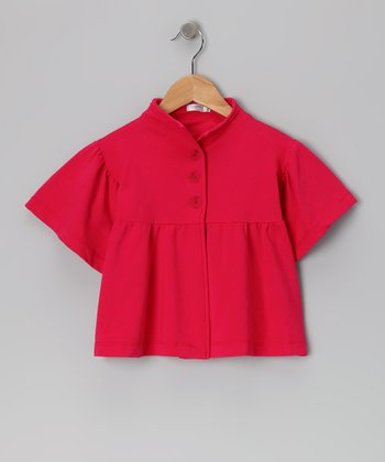 Baby Eggi Bright Rose Bell-Sleeve Jacket - Girls