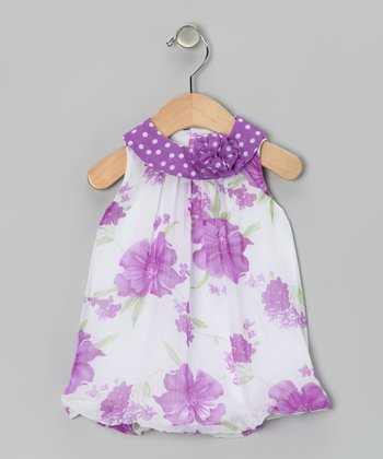 Purple Floral Bubble Romper