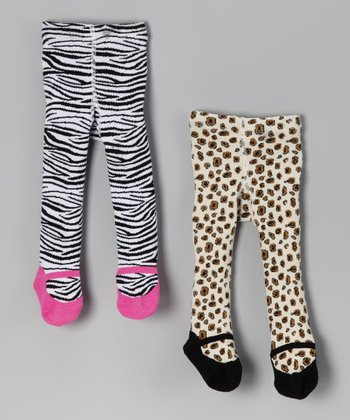 Cheetah & Zebra Mary Jane Tights Set