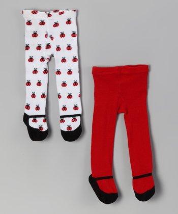 Baby Essentials Red & White Ladybug Mary Jane Tights Set