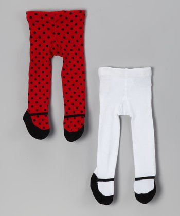 Baby Essentials Red & White Polka Dot Mary Jane Tights Set