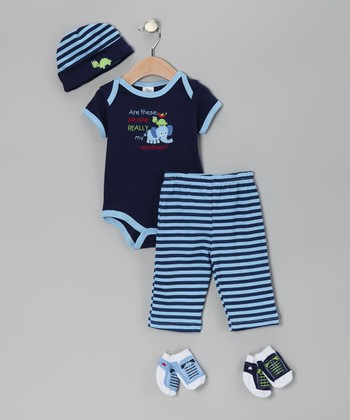 Baby Essentials Dark Blue 'My Relatives' Five-Piece Layette Set - Infant