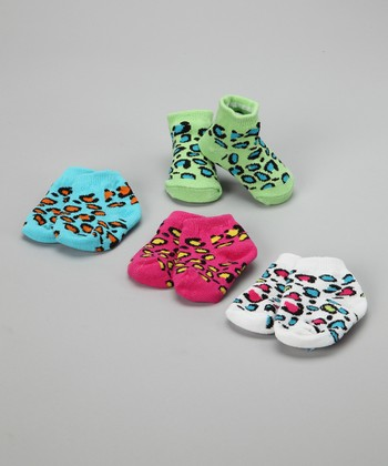 Baby Essentials Bright Cheetah Sock Set