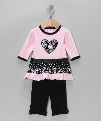 Pink Flower Tiered Tunic & Leggings - Infant