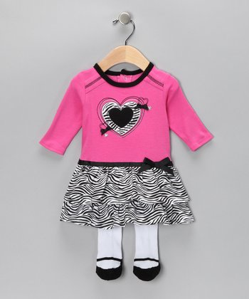 Pink Zebra Heart Dress & Tights - Infant