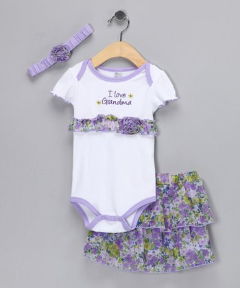 White & Lilac 'Grandma' Rose Skirt Set