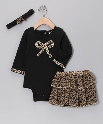 Baby Essentials Black Leopard Bow Headband Set - Infant