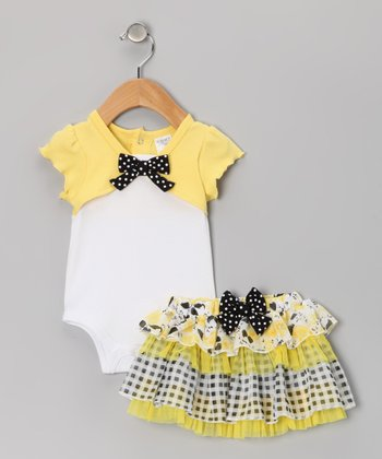 Yellow & Black Plaid Bodysuit & Skirt