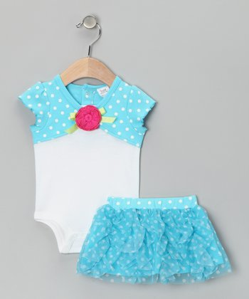 Blue Polka Dot Bodysuit & Skirt