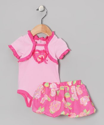 Baby Essentials Pink Ruffle Flower Heart Bodysuit & Skirt - Infant