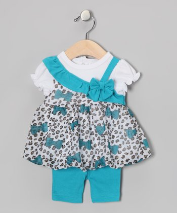 Turquoise Leopard Bow Dress & Capri Leggings - Infant