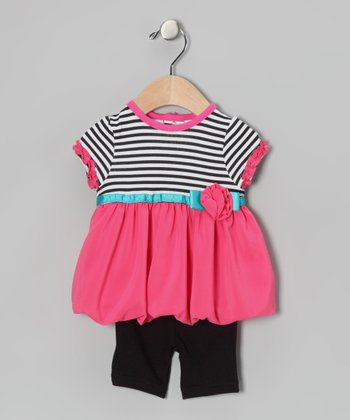 Pink & Black Stripe Bubble Dress & Capri Pants
