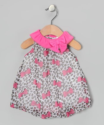 Pink Leopard Bow Bubble Romper