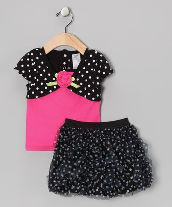 Black & Pink Polka Dot Tunic & Skort