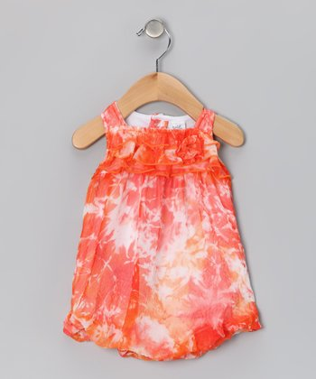 Coral & White Ruffle Bubble Romper