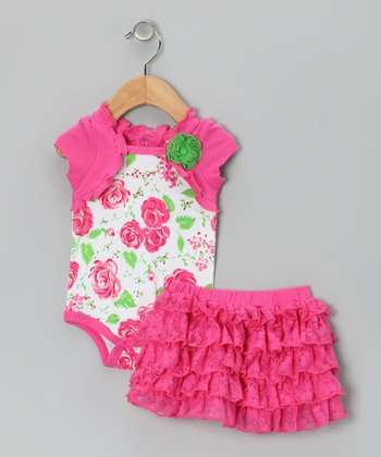 Pink & Green Ruffle Flower Bodysuit & Skirt