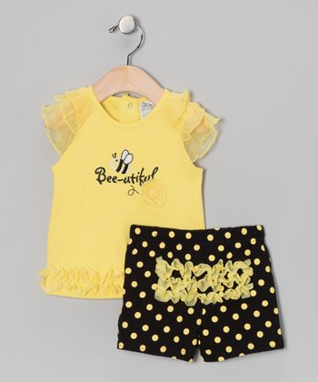 Yellow 'Bee-utiful' Ruffle Top & Black Polka Dot Shorts
