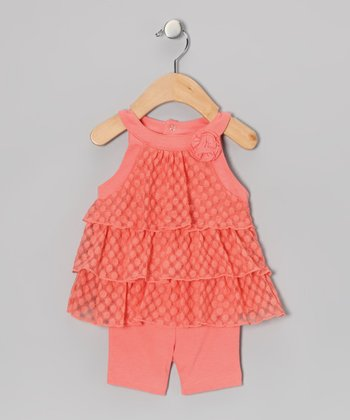 Coral Ruffle Dress & Shorts