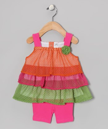 Pink & Green Neon Tiered Dress & Shorts