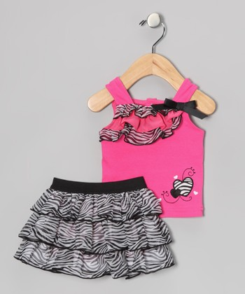 Pink & Black Zebra Heart Tank & Skort - Infant