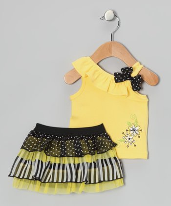 Yellow & Black Polka Dot Flower Tank & Skort