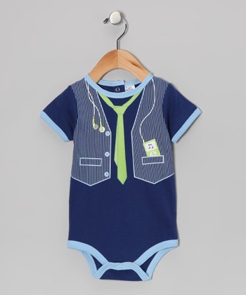 Blue & Green Vest & Tie Bodysuit