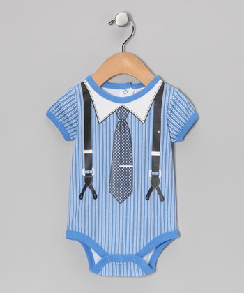 Blue Stripe Suspender & Tie Bodysuit