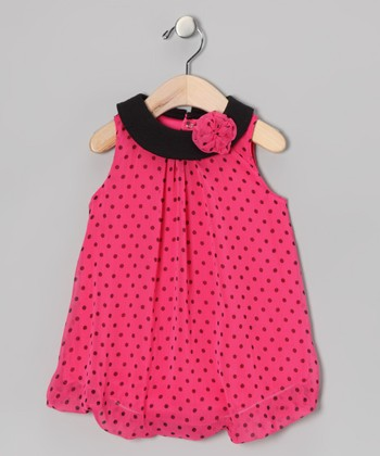 Pink Polka Dot Flower Bubble Romper
