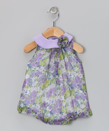 Purple Floral Blossom Bubble Romper