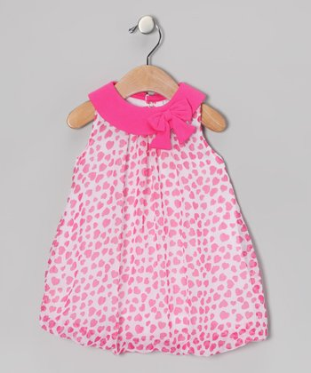 Pink Heart Bow Bubble Dress - Infant