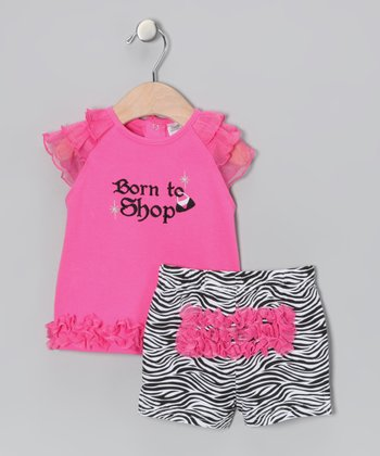 Pink 'Born to Shop' Ruffle Tunic & Zebra Shorts - Infant