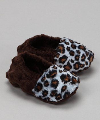 Baby Flirt Brown & Blue Leopard Booties