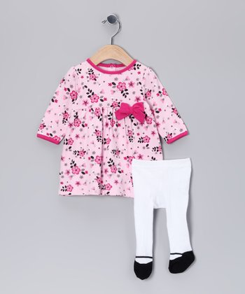 Pink Floral Dress & White Tights - Infant