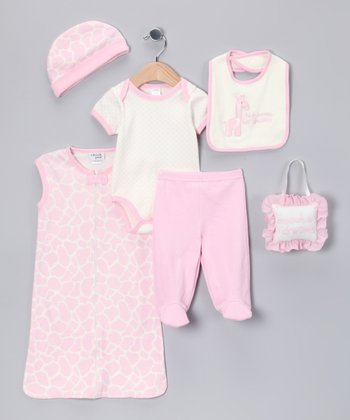 Pink Giraffe 'High Hopes' 7-Piece Layette Set