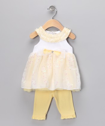 Yellow Sequin Dress & Ruffle Leggings