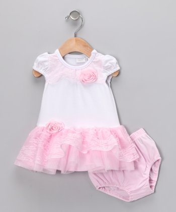 Pink & White Ruffle Dress & Diaper Cover