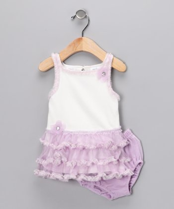 Purple & White Ruffle Dress & Diaper Cover