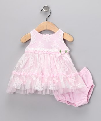 Pink Lace Dress & Diaper Cover