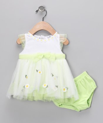 Green & White Daisy Dress & Diaper Cover
