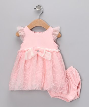 Peach Dress & Diaper Cover