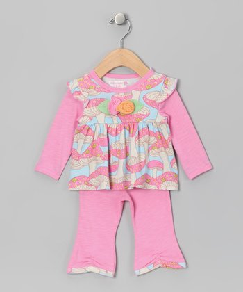 Pink Mushroom Jill Layered Top & Pants - Infant