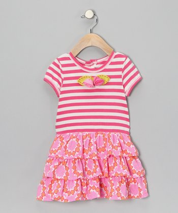 Fuchsia Flower Ruffle Dress - Infant & Toddler