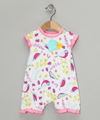White Birdy Romper - Infant