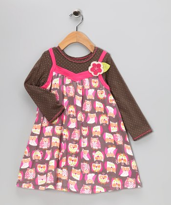 Baby Lulu Brown Owl Layered Dress - Toddler