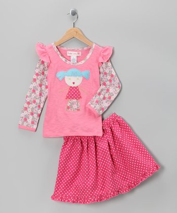 Pink Rose Ginger Layered Tee & Skirt - Toddler & Girls
