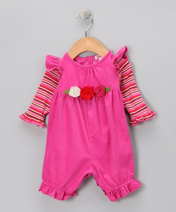 Hot Pink Candy Rose Corduroy Playsuit - Infant